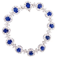 Ceylon Blue Oval Sapphire Diamond 18 Karat White Gold Bracelet