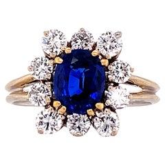 Ceylon Blue Oval Sapphire Diamond 18 Karat White Gold Cocktail Ring