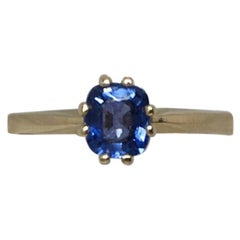 Ceylon Blue Sapphire 0.75 Carat Yellow Gold Square Cushion Cut Solitaire Ring