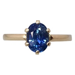Ceylon Blue Sapphire 1.75 Carat Yellow Gold Oval Cut Solitaire Ring