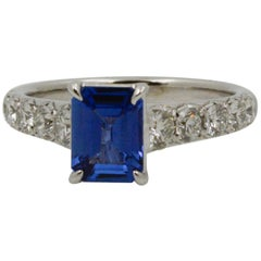 Ceylon Blue Sapphire and Diamond 18 Karat White Gold Ring
