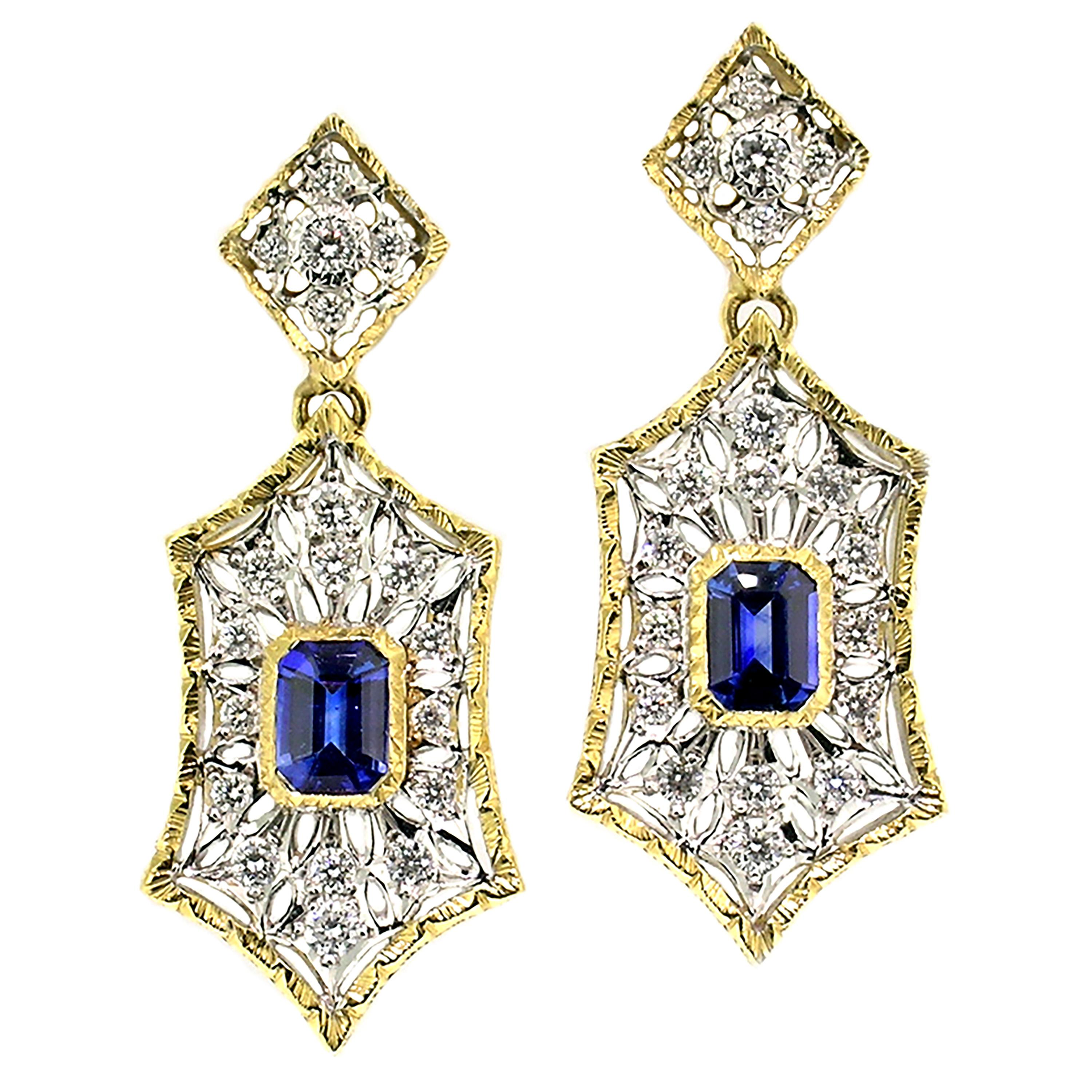 1.84ct Ceylon Sapphire and Diamond 18kt Earrings, Made in Italy by Cynthia Scott