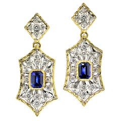 Ceylon Blue Sapphire and Diamond in 18 Karat Engraved Earrings, Handmade, Italy