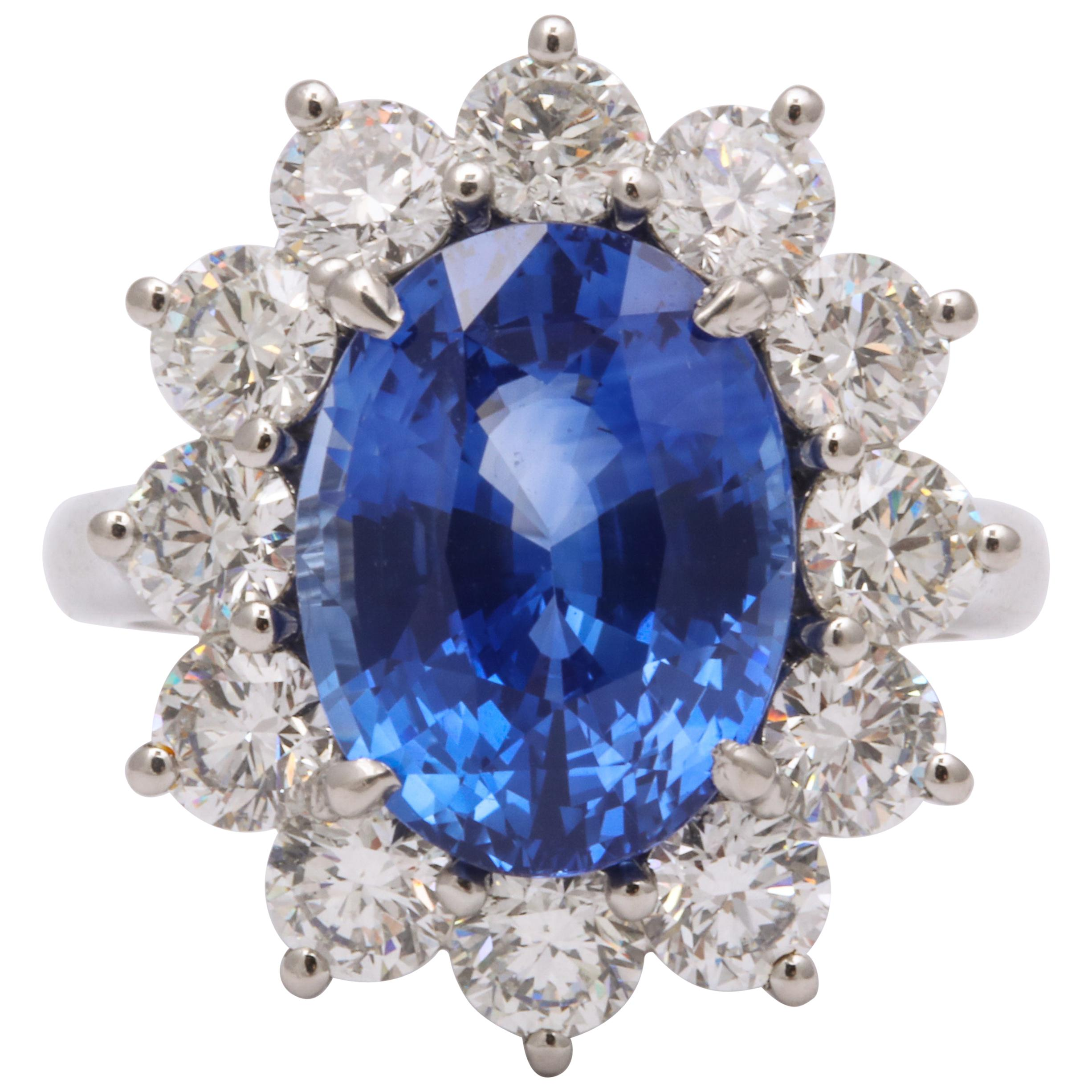 Ceylon Blue Sapphire and Diamond Ring