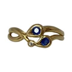 Ceylon Blue Sapphire and Diamond Round Cut 18 Karat Gold Fancy Design Ring