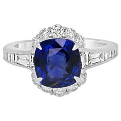 Ceylon Blue Sapphire Cushion White Diamond Halo White Gold Fashion Bridal Ring