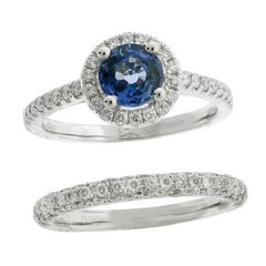 Ceylon Blue Sapphire Diamond 18 Carat White Gold Ring Engagement Band
