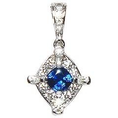 Ceylon Blue Sapphire Diamond 18 Karat White Gold Cluster Enhancer Natalie Barney