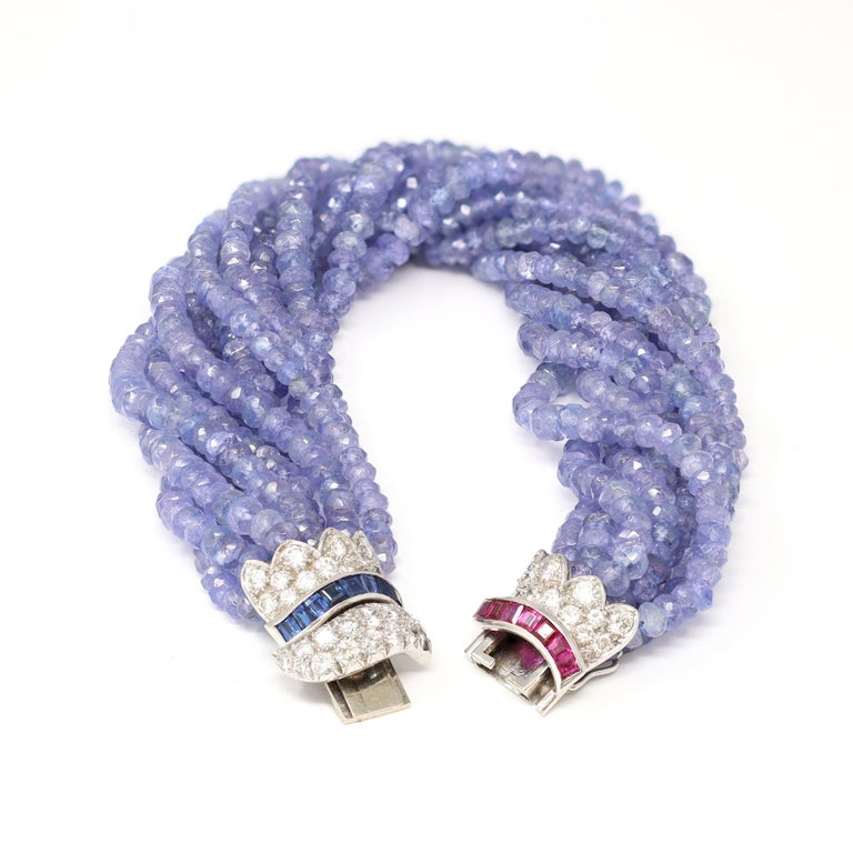 Mixed Cut Ceylon Blue Sapphire, Diamond and Ruby Faceted Bead Bracelet in 18 Karat Gold For Sale