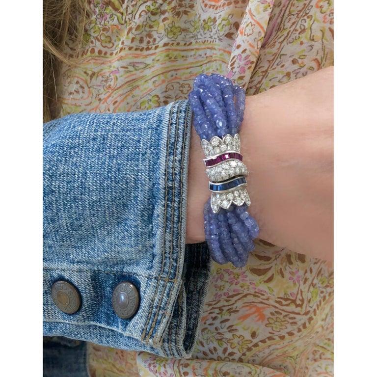 Women's Ceylon Blue Sapphire, Diamond and Ruby Faceted Bead Bracelet in 18 Karat Gold For Sale