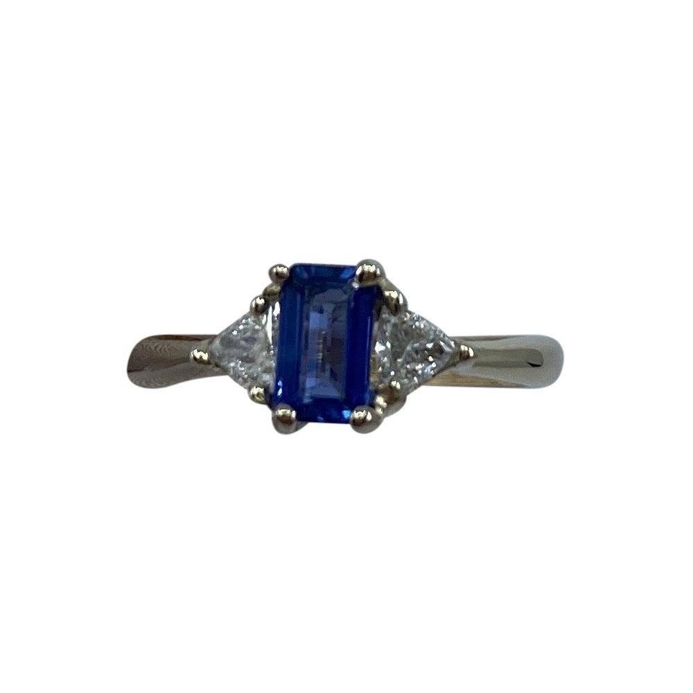 Ceylon Blue Sapphire & Diamond Trillion 3 Stone 18k White Gold Handmade Ring