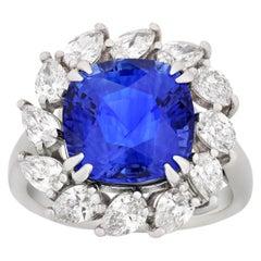 Ceylon Blue Sapphire Ring, 6.30 Carat