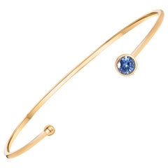 Ceylon Blue Sapphire On 18 Karat Yellow Gold Bangle