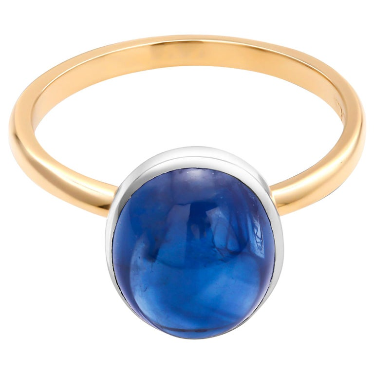 Ceylon Cabochon Sapphire 18 Karat White and Yellow Gold Fashion Ring For Sale