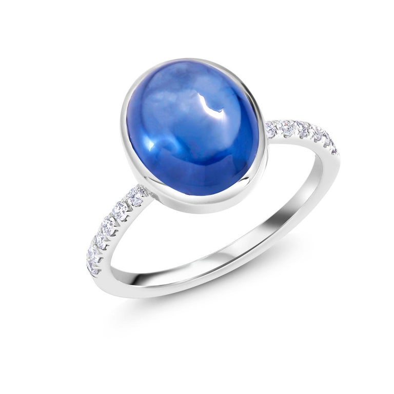 Oval Cut Ceylon Cabochon Sapphire and Diamond Eighteen Karat Gold Cocktail Ring For Sale