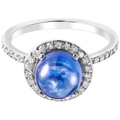 Ceylon Cabochon Sapphire and Diamond Gold Cocktail Ring Weighing 4.30 Carat