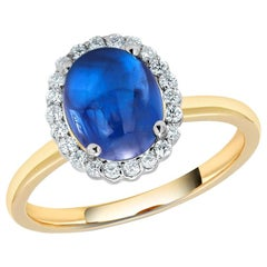 Ceylon Cabochon Sapphire and Diamond Gold Cocktail Ring Weighing 6.66 Carat