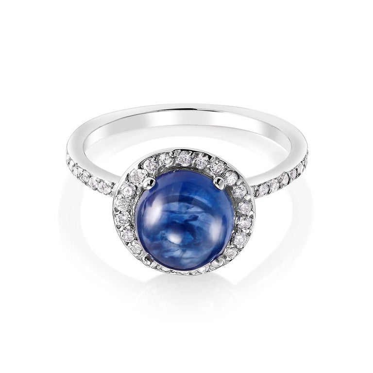 Round Cut Ceylon Cabochon Sapphire and Diamond Halo White Gold Cocktail Ring For Sale