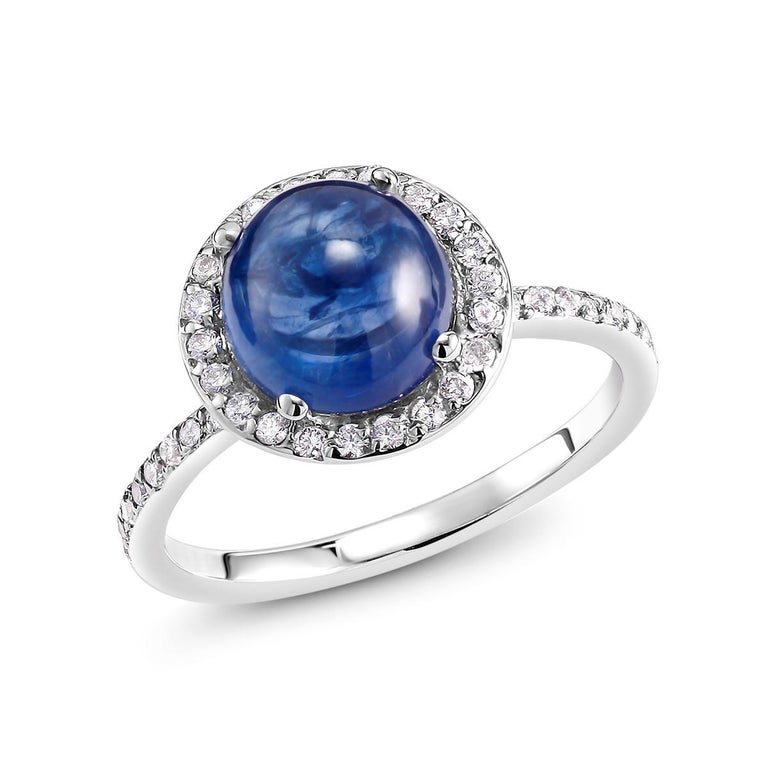 Women's or Men's Ceylon Cabochon Sapphire and Diamond Halo White Gold Cocktail Ring For Sale