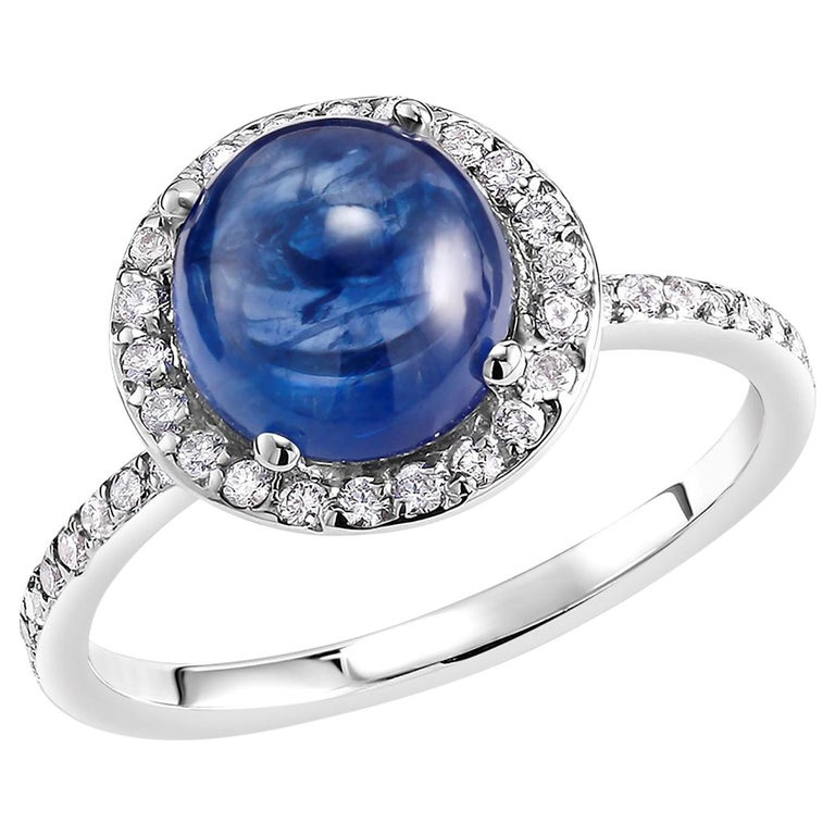 Ceylon Cabochon Sapphire and Diamond Halo White Gold Cocktail Ring For Sale