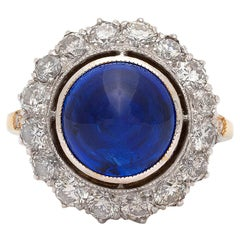 Ceylon Cabochon Sapphire and Diamond Ring