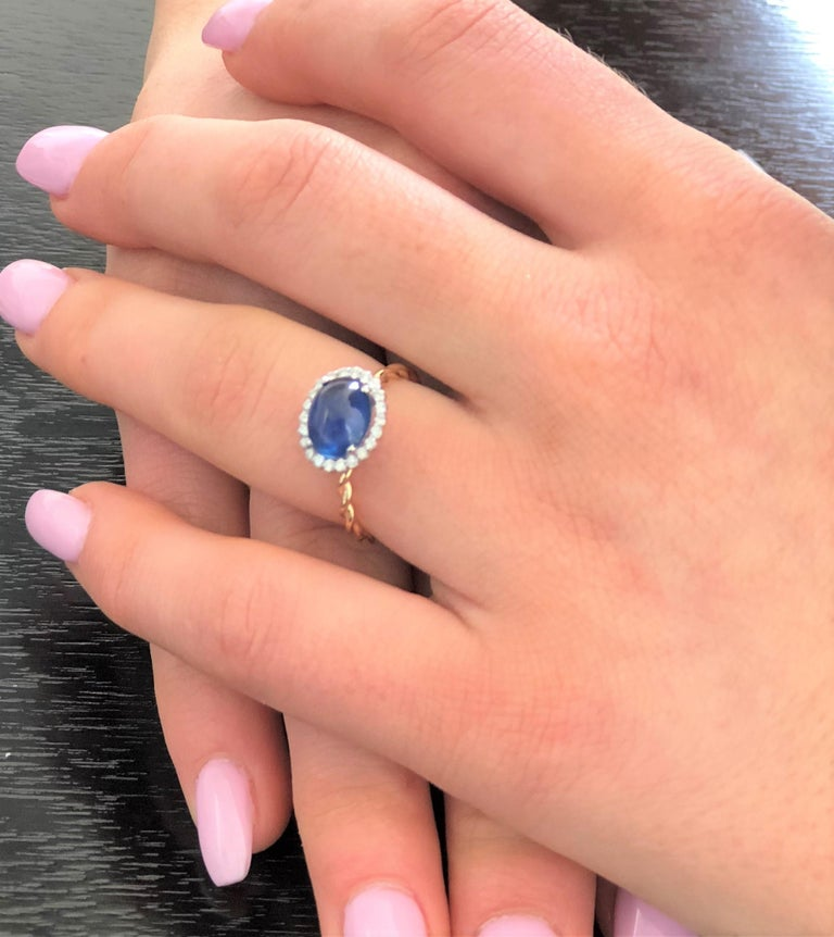 Contemporary Ceylon Cabochon Sapphire and Diamond White and Rose Gold Cocktail Ring For Sale