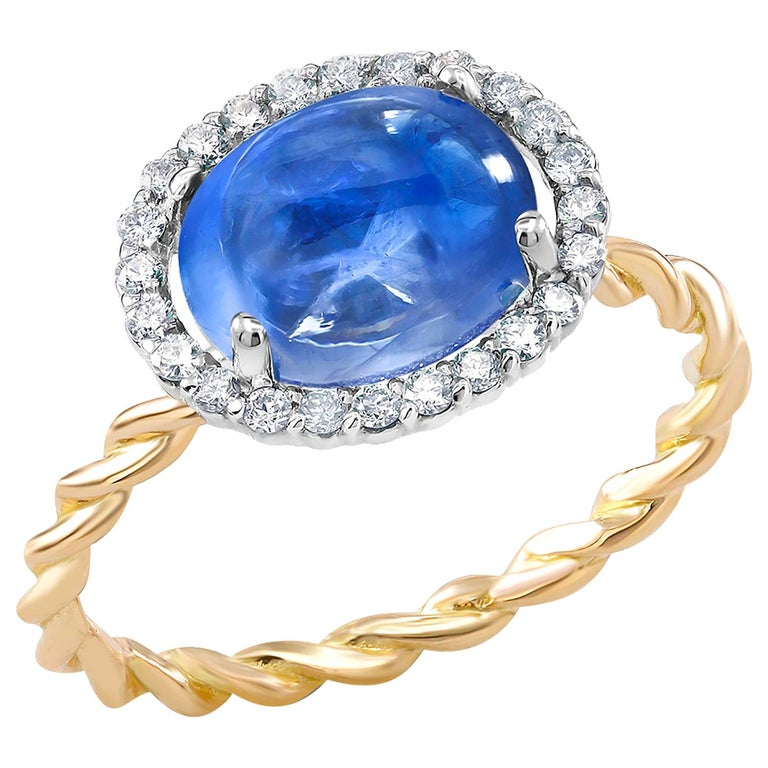 Ceylon Cabochon Sapphire and Diamond White and Rose Gold Cocktail Ring For Sale