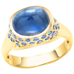 Ceylon Cabochon Sapphire and Small Sapphire Dome Yellow Gold Cocktail Ring