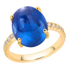 Ceylon Cabochon Sapphire Diamond 18 Karat Yellow Gold Cocktail Gold Ring