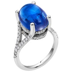 Ceylon Cabochon Sapphire Diamond Gold Cocktail Ring Weighing 17.77 Carat