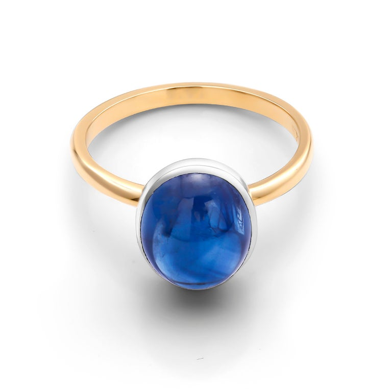 Contemporary Ceylon Cabochon Sapphire 18 Karat White and Yellow Gold Fashion Ring For Sale