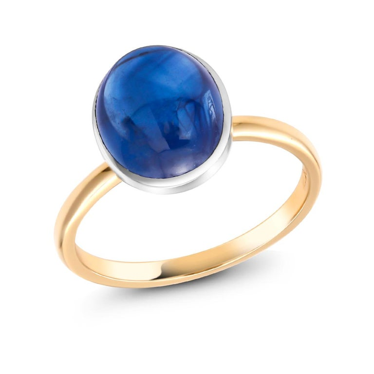Ceylon Cabochon Sapphire 18 Karat White and Yellow Gold Fashion Ring In New Condition For Sale In New York, NY