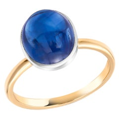 Ceylon Cabochon Sapphire 18 Karat White and Yellow Gold Fashion Ring