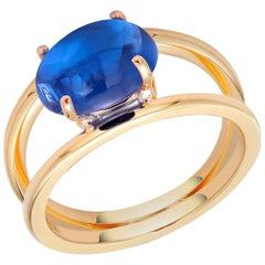 Ceylon Cabochon Sapphire Split Shank 18 Karat Yellow Gold Ring
