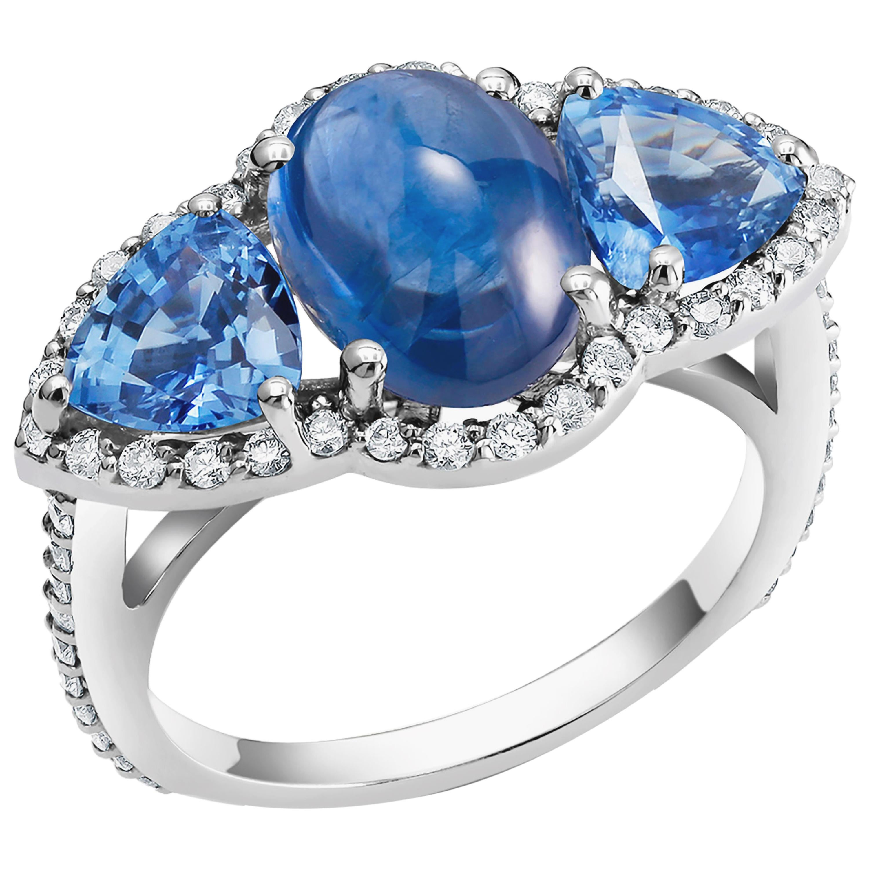 Ceylon Cabochon Sapphire Trillion Blue Sapphires Diamond Cocktail Cluster Ring