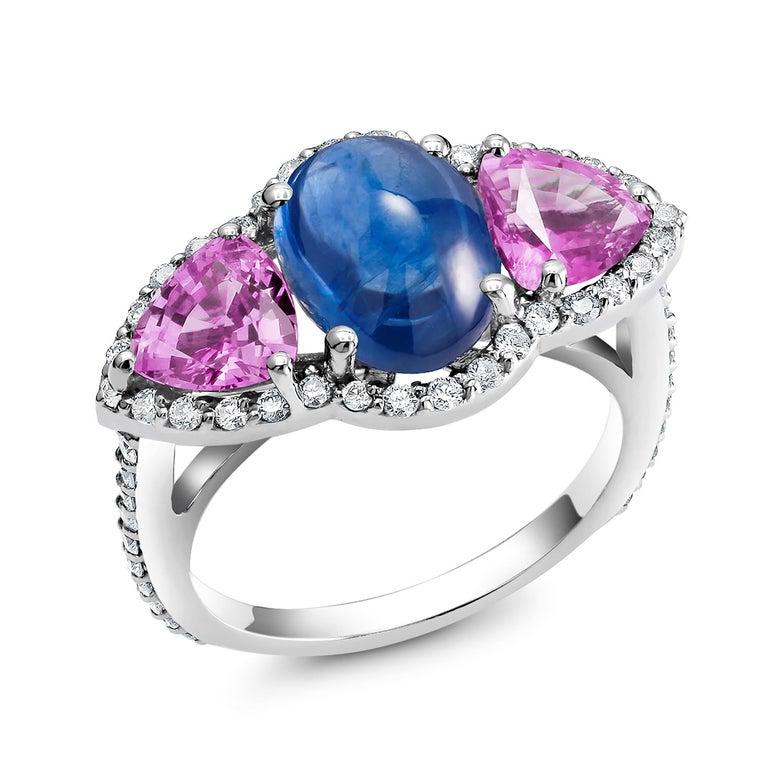 Cushion Cut Ceylon Cabochon Sapphire Trillion Pink Sapphires Diamond Cocktail Cluster Ring For Sale