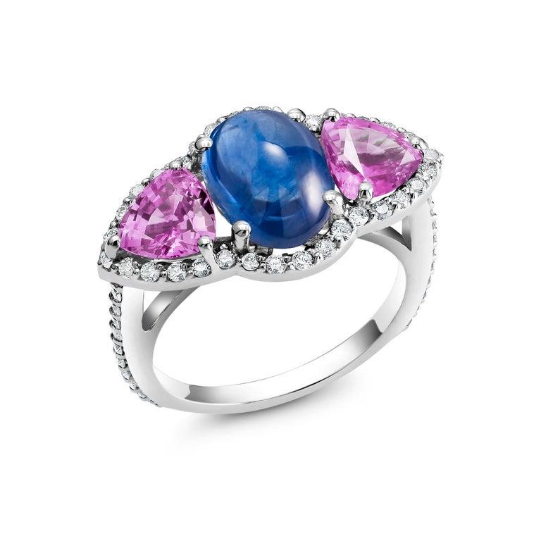 Women's Ceylon Cabochon Sapphire Trillion Pink Sapphires Diamond Cocktail Cluster Ring For Sale