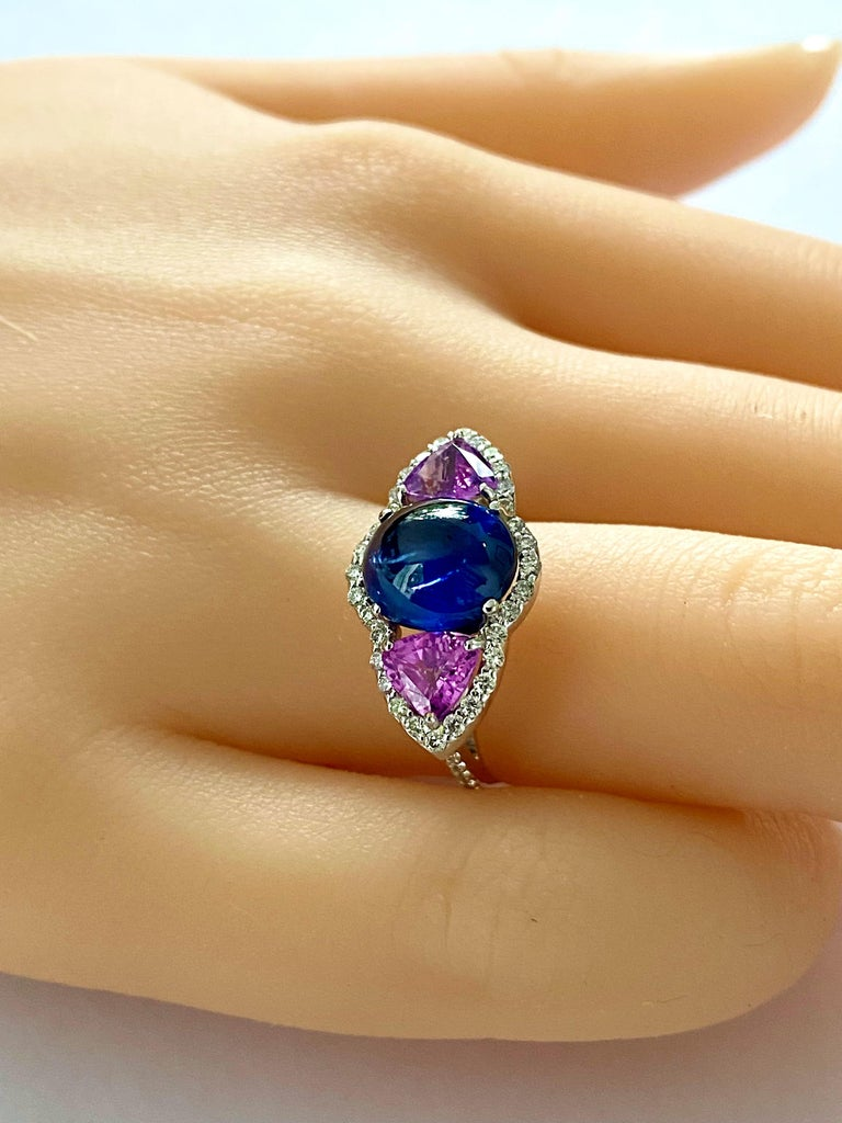Contemporary Ceylon Cabochon Sapphire Trillion Pink Sapphires Diamond Cocktail Cluster Ring For Sale