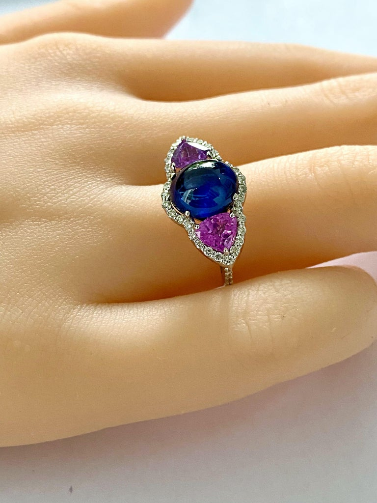 Ceylon Cabochon Sapphire Trillion Pink Sapphires Diamond Cocktail Cluster Ring In New Condition For Sale In New York, NY