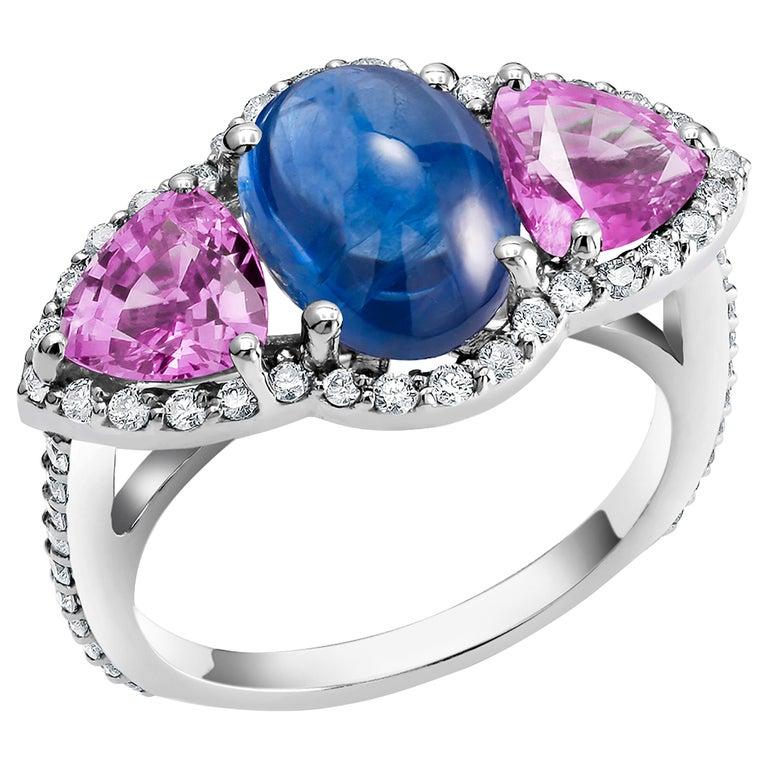 Ceylon Cabochon Sapphire Trillion Pink Sapphires Diamond Cocktail Cluster Ring For Sale