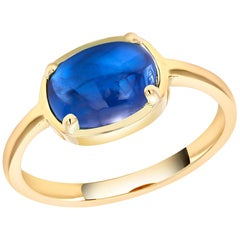 Ceylon Cabochon Sapphire Weighing 4.20 Carat Yellow Gold Cocktail Ring