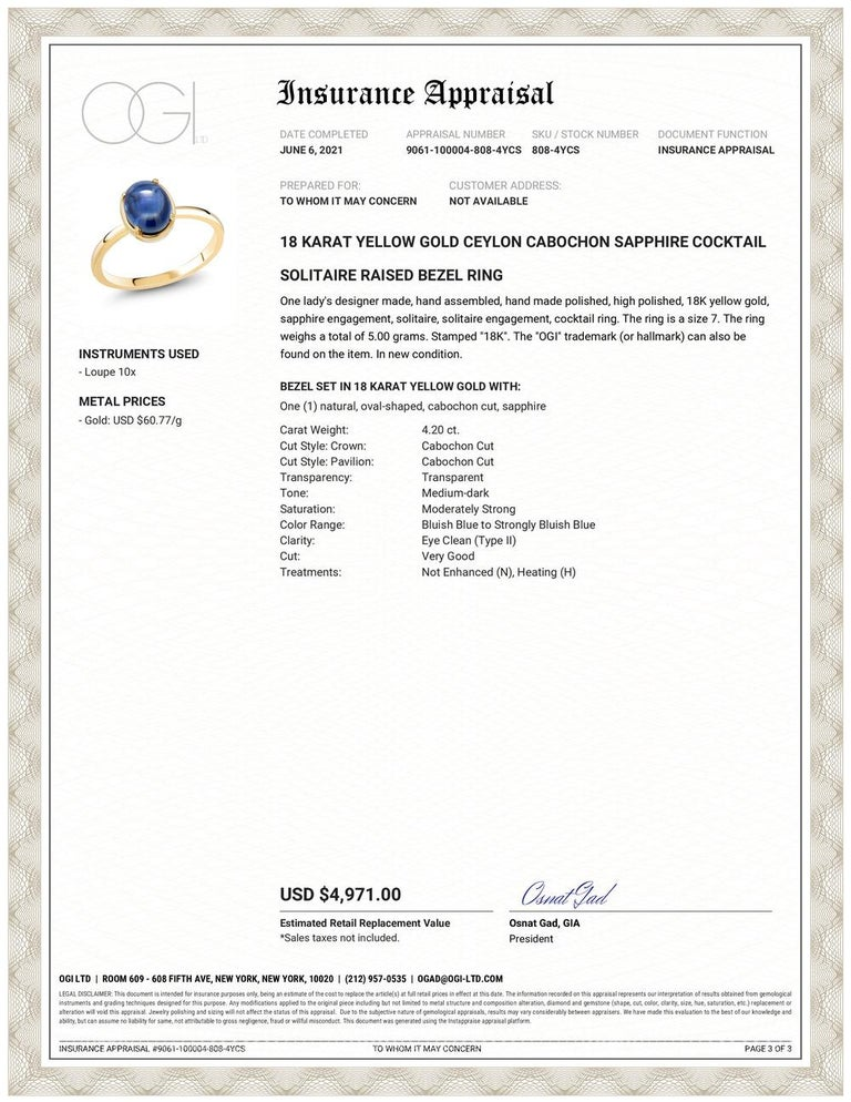 Eighteen karats yellow gold raised bezel dome ring Ceylon cabochon sapphire weighing  4.20 carat                                                                   Ring size 7 In Stock The ring can be resized  New Ring Handmade in the USA Our design
