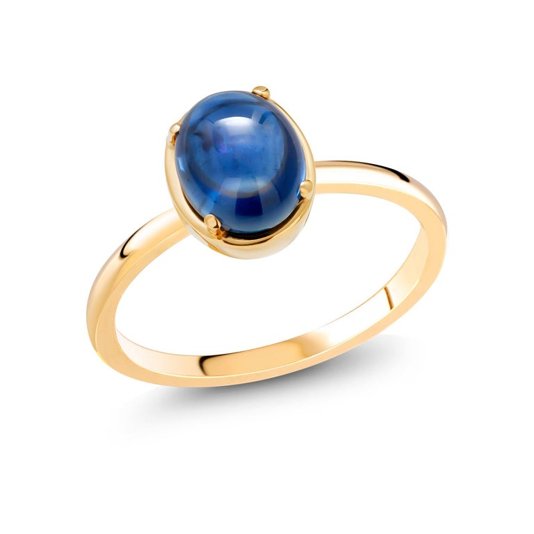 Ceylon Cabochon Sapphire Weighing 4.20 Carat Yellow Gold Cocktail Solitaire Ring In New Condition For Sale In New York, NY