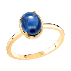 Ceylon Cabochon Sapphire Weighing 4.20 Carat Yellow Gold Cocktail Solitaire Ring
