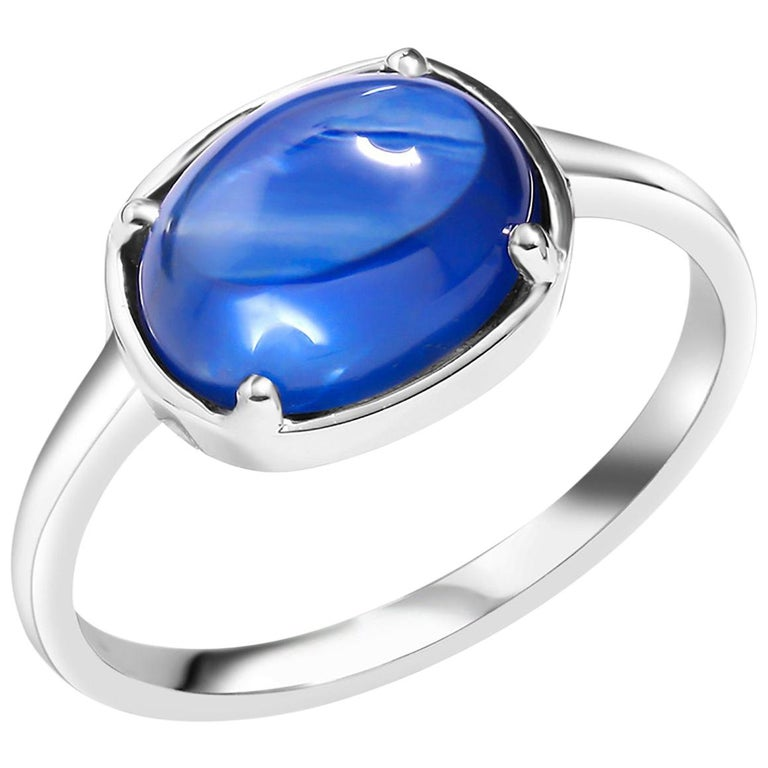 Ceylon Cabochon Sapphire Weighing 4.25 Carat White Gold Cocktail Ring For Sale
