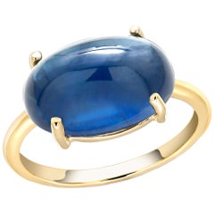 Ceylon Cabochon Sapphire Yellow Gold Fashion 18 Karat Gold Ring