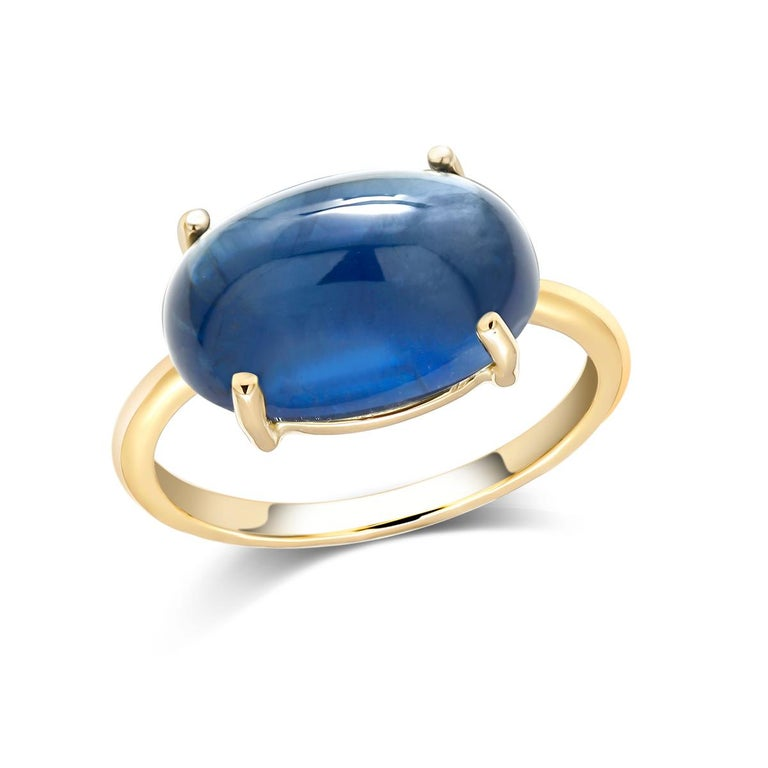 Oval Cut Ceylon Cabochon Sapphire Yellow Gold Fashion 18 Karat Gold Ring For Sale