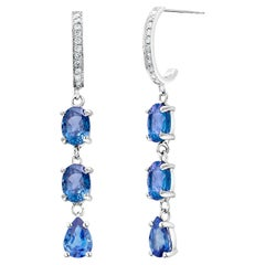 Ceylon Cornflower Blue Sapphires and Diamonds Triple Tier Drop Hoop Earrings