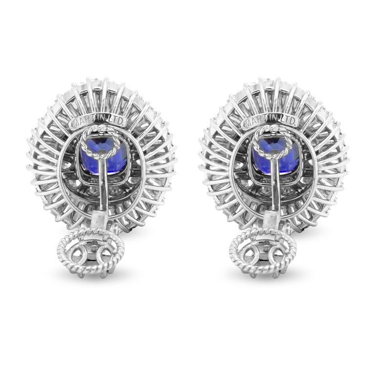 Ceylon Cushion Blue Sapphire Tapered Baguette Round Diamond Platinum Earrings  These state-of-the-art earrings feature two, cushion-cut, Ceylon Blue Sapphires with Tapered Baguette and round diamonds all throughout.  Apprx. 9 carat Ceylon Blue