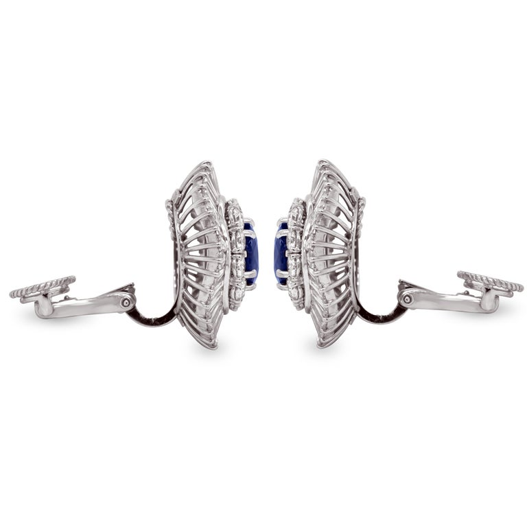 Contemporary Ceylon Cushion Blue Sapphire Tapered Baguette Round Diamond Platinum Earrings For Sale